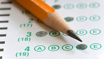 pencil and test paper