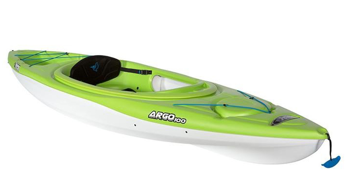 A kayak with a lime top and white bottom
