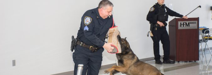 K-9 officers visit Criminal Justice and Veterinary Science students