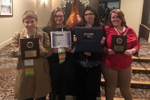 From left, PTECH students Cierra Mason, Aislynn Ward, Brianna Rymarz and Rane Dutcher display the awards they won at the FBLA Spring State Leadership Conference, which took place April 11-13 in Binghamton.