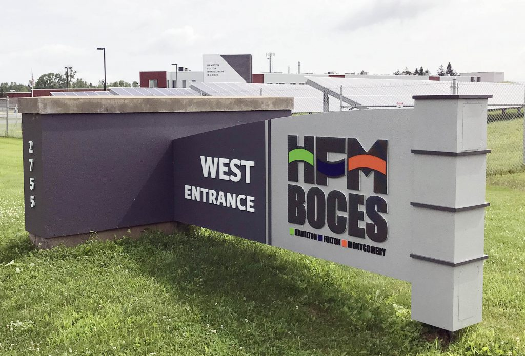 An HFM BOCES sign outside the main campus