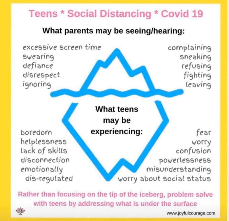 Teens, Social Distancing, COVID 19. What parents may be seeing/hearing: excessive screen time, swearing, defiance, disrespect, ignoring, complaining, sneaking, refusing, fighting, leaving. What teens may be experiencing: boredom, helplessness, lack of skills, disconnection, emotionally dis-regulated, fear, worry, confusion, powerlessness, misunderstaning, worry about social status. Rather than focusing on the tip of the iceberg, problem solve with teens by addressing what is under the surface.