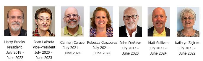 Harry Brooks, President, July 2019 to June 2022; Jean LaPorta, Vice-President, July 2020 to June 2023; Carmen Caraco, July 2021 to June 2024; Rebecca Cozzocrea, July 2021 to June 2024; John DeValve July 2017 to June 2020; Matt Sullivan July 2021 to June 2024; Kathryn Zajicek July 2021 to June 2022.